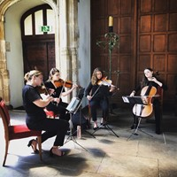 String quartet performing live music for a wedding ceremony at Eltham Palace, London