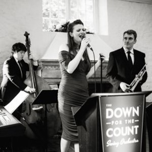 A jazz quartet from Down for the Count performing at a wedding reception - upright bass, trumpet, vocals