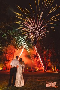 Fireworks display at a Buckinghamshire yurt wedding reception, photo by Potters Instinct Photography