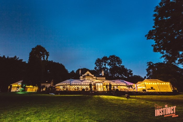 Buckinghamshire yurt wedding reception with live music, photo by Potters Instinct Photography