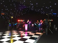 Live function band soundchecking at a wedding reception - Creslow Manor, Buckinghamshire