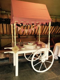 Desert trolley at wedding reception at Lains Barn, Oxfordshire