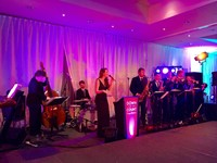 Live swing big band performing at Berkshire corporate event
