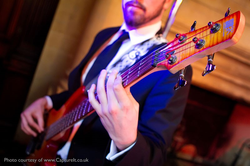 Bassist Steve Torpey performing at Anthony and Becky's Wedding Reception at Pinewood Studios, Buckinghamshire.  Photo courtesy of Capture It.