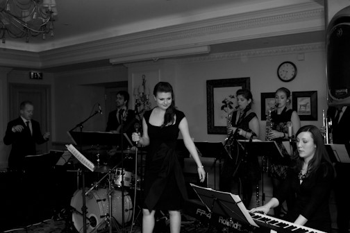 Rosalind & Oliver's Wedding Reception with Swing band Down for the Count at The Compleat Angler, Marlow-on-Thames, Buckinghamshire.  Photo courtesy of Brown Box Photography (www.brownboxphotography.co.uk).