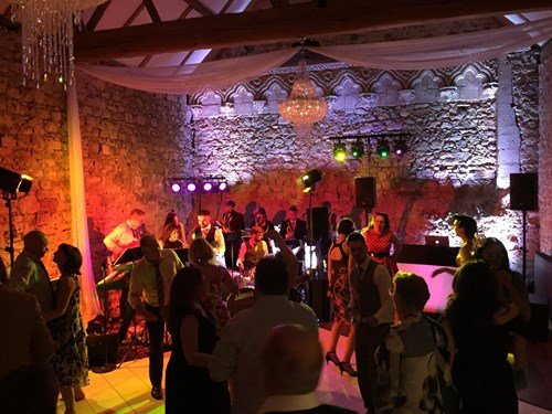 Swing and soul band performing at a wedding reception at Notley Abbey, Buckinghamshire