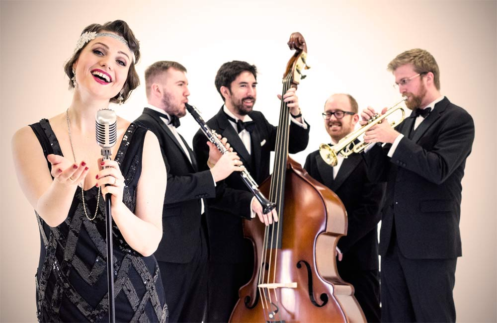Entertainment ideas for Christmas Party vintage 1920s Lady Gatsby themed jazz band performing jazz covers of modern songs like Postmodern Jukebox