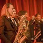 Horn section with live band Down for the Count at The Tabernacle, Notting Hill - baritone saxophone function band, trumpet