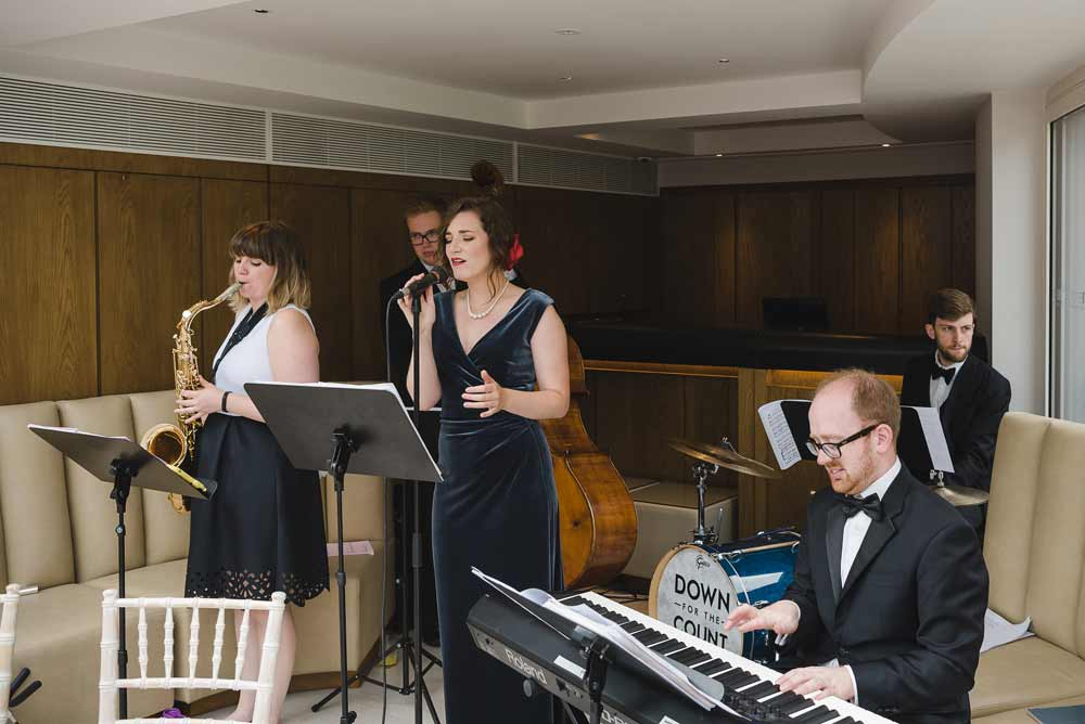 Live jazz band performing at Le Manoir aux Quat'Saisons, Oxfordshire