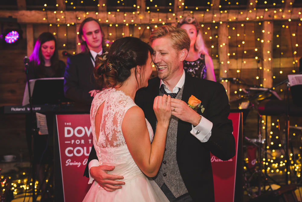 The first dance - to live swing music at a wedding reception in Oxfordshire