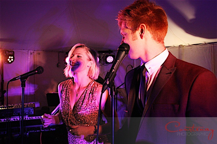 Live swing and soul band at Dorset marquee wedding reception, music from Down for the Count